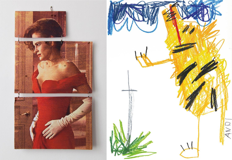 Links: Julia Roberts Collage von Kate Mackeson, rechts: ein krakelig gezeichneter Tiger von Andi Fischer.