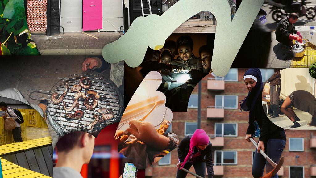 Das Bild zeigt eine digitale Fotocollage. Die einzelnen Bildausschnitte sind in amorphen Formen übereinander gelegt. Zu sehen sind unter anderem zwei Frauen mit Kopftuch vor einem Hochhaus beim Hacken von Boden; drei Kinder, welche mit einer Handy-Taschenlampe etwas zu lesen scheinen; ein Grill; ein Straßenarbeiter am Bode.