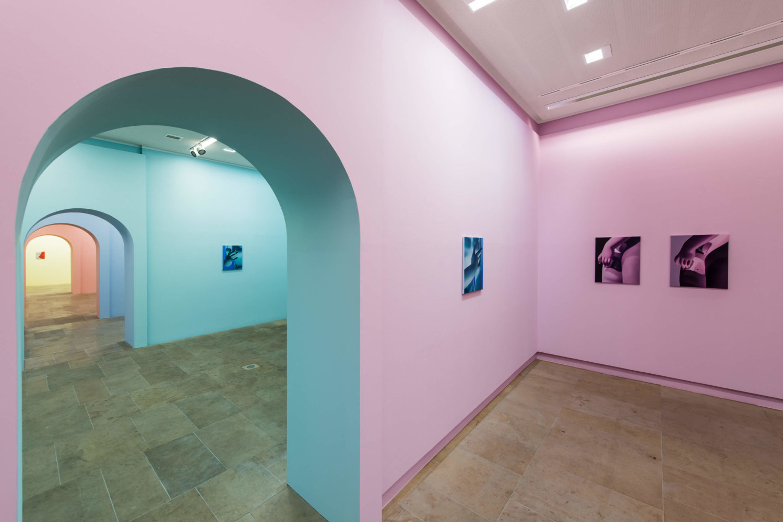 Malerei von Vivian Greven im Kunstpalais Erlangen auf türkisfarbener sowie auf rosafarbener Wand.