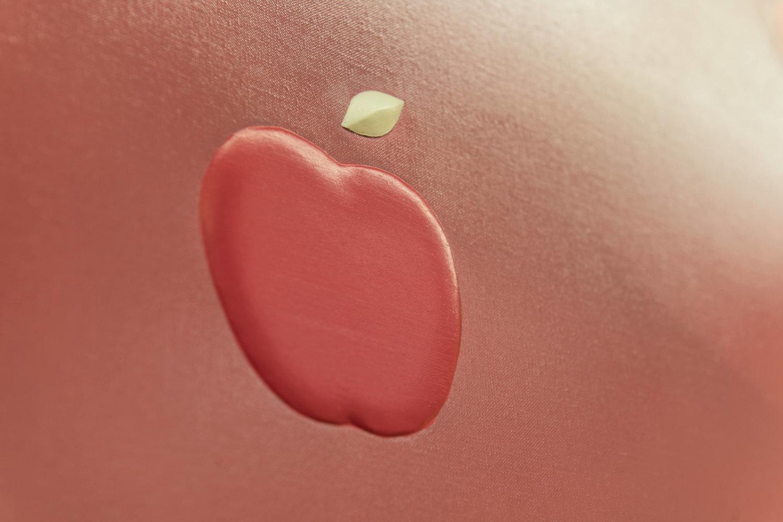 Malerei von Vivian Greven im Kunstpalais Erlangen, Detailansicht eines Apfels.