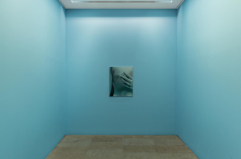 Malerei von Vivian Greven im Kunstpalais Erlangen auf blauer Wand.
