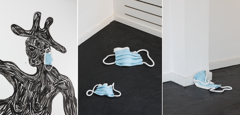 """Drei Bilder aus der Ausstellung """"Not Safe For Work"""". Auf allen dreien sind unterschiedliche Keramikmasken von Oliver-Selim Boualam von BNAG zu sehen."""
