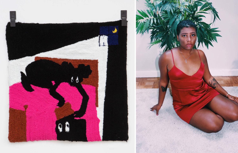 Links: Wandteppich von Qualeasha Wood mit Comic-Figur. Rechts: Qualeasha Wood in einem roten Kleid.