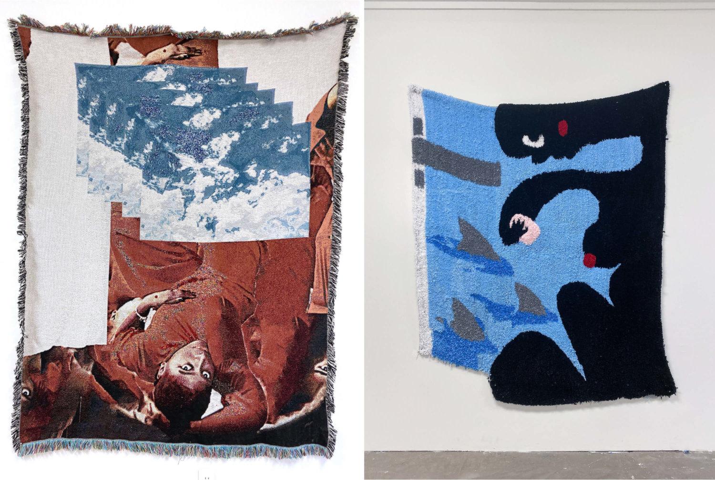 Links: Wandteppich von Qualeasha Wood mit der Künstlerin und Wolken darauf. Rechts: Wandtteppich von Qualeasha Wood mit schwarzen Comic-Figuren.