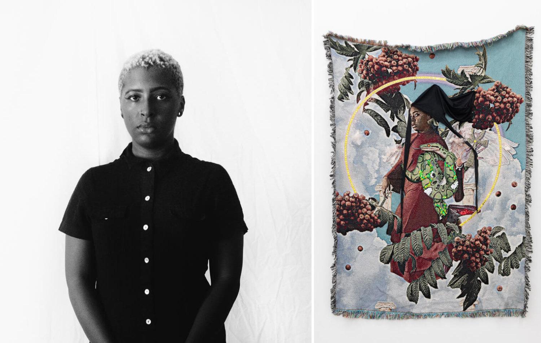 Links: Schwarz-weiß-Foto von Qualeasha Wood. Rechts: Wandteppich von Qualeasha Wood.