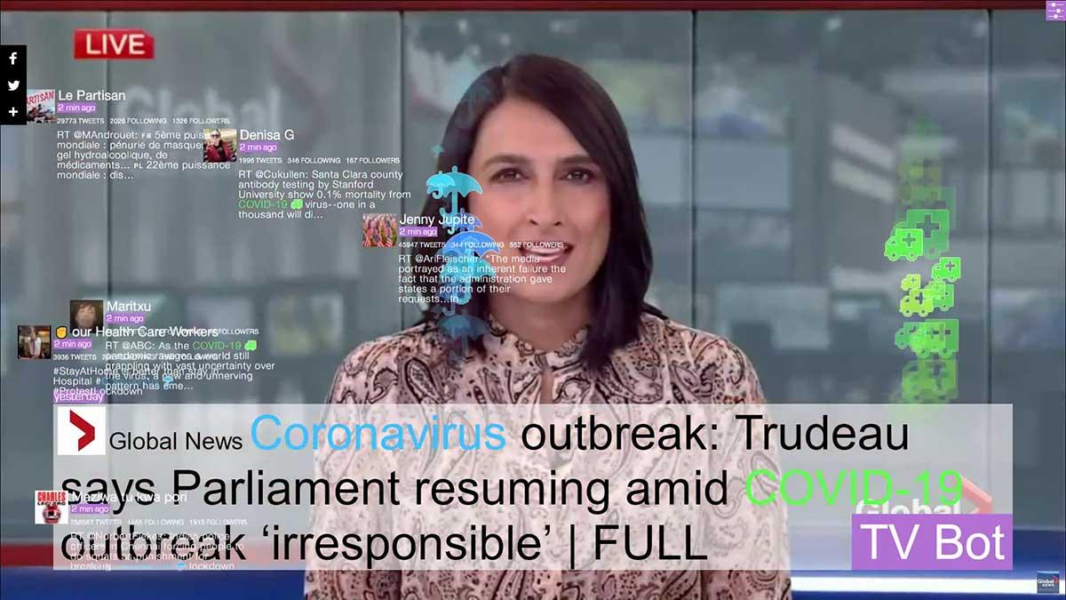 """Nachrichten-Ansicht wie im Fernsehen mit verschiedenen Neuigkeiten zum Corona-Virus. Arbeit von Marc Lee, """"Corona TV Bot""""."""
