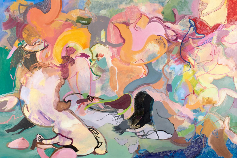 Malerei von Elle Otto aus dem Jahr 2018 mit dem Titel Kassandra und Pandora vom Fluch befreien