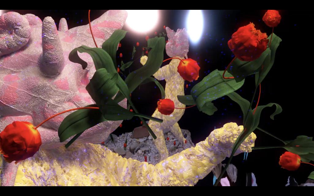 Das Bild zeigt eine digitale Animation. Der Hintergrund des Bildes ist schwarz, davor sind organische Gebilde in rosa zu erblicken; sie scheinen zahlreiche Arme oder Äste zu besitzen. Digitale rote Blumen mit grünem Stiel scheinen wie in einem Strum durch das Bild zu fliegen.