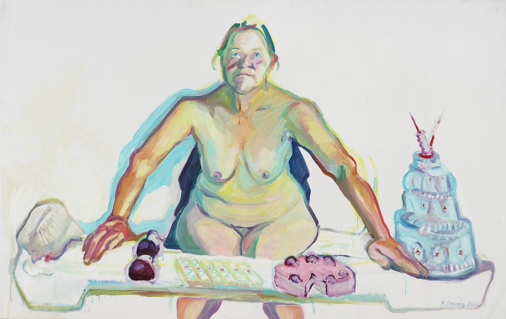 Mehlspeisenmadonna Malerei von Maria Lassnig als Selbstportrait mit Kuchen