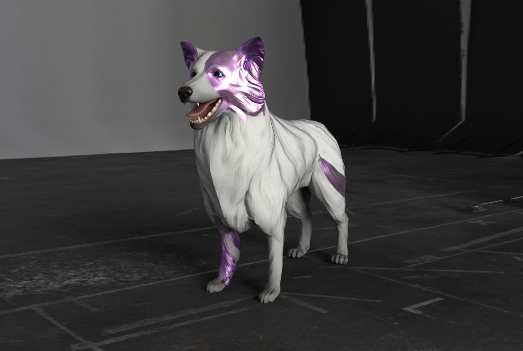 Das Bild zeigt die digitale Version eines Hundes, scheinbar eines Collis. der Hund steht im Zentrum des Bildes, sein Mund ist geöffnet und sein Blick geht nach links aus dem Bild heraus. Sein Fell ist weiß mit einigen violetten Partien am rechten Vorderbein sowie am Kopf.