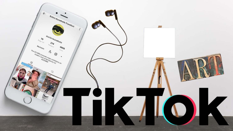 Collage mit einem Smartphone, das das TikTok-Profil der Schirn Kunsthalle Frankfurt zeigt. Außerdem Kopfhörer, das große TikTok-Logo, eine Staffelei und Stempel mit dem Schriftzug ART / Kunst.