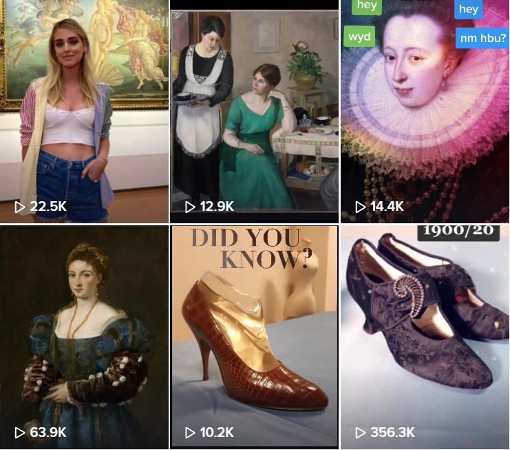 """Ein Screenshot von den TikTok-Video der Uffizien in Florenz. Mode-Influencerin Chiara Ferragnie vor Botticellis """"Geburt der Venus"""", Nahaufnahmen von Gemälden und Schuhen der Sammlung."""