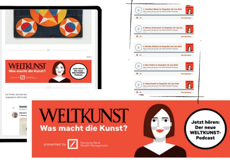 Podcast-Banner vom WELTKUNST Magazin. Chefredakteurin Lisa Zeitz im Gespräch mit Künstlerin Alicja Kwade. Folgenübersicht.