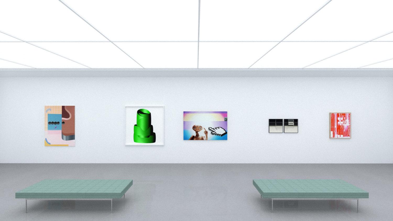 Fünf Kunstwerke hängen in einem digitalen White Cube.