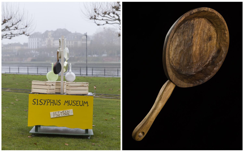 "Die Pfannen-Ausstellung ""Between fire & fare"" in Ivan Murzins Sisyphus Museum."