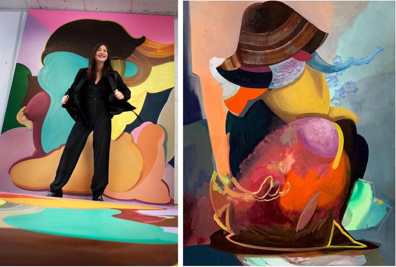links Egle Otto im Studio rechts_Egle Ottos Malerei mit dem Titel Filosofisten 7 aus dem Jahr 2020