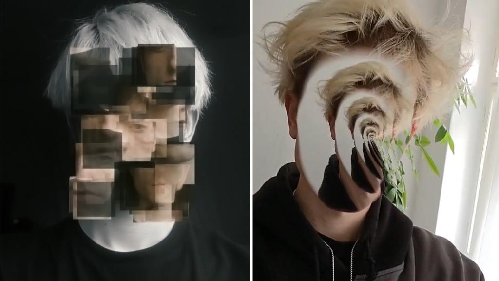 Aaron Jablonski Face Filter Scramble und Face Void die Gesucht fragmentieren oder verschwinden lassen