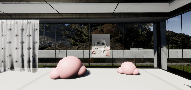 Man sieht eine digitale Ausstellungsansicht von Ben Elliots Projekt My Little Friend aus dem Jahr 2021.