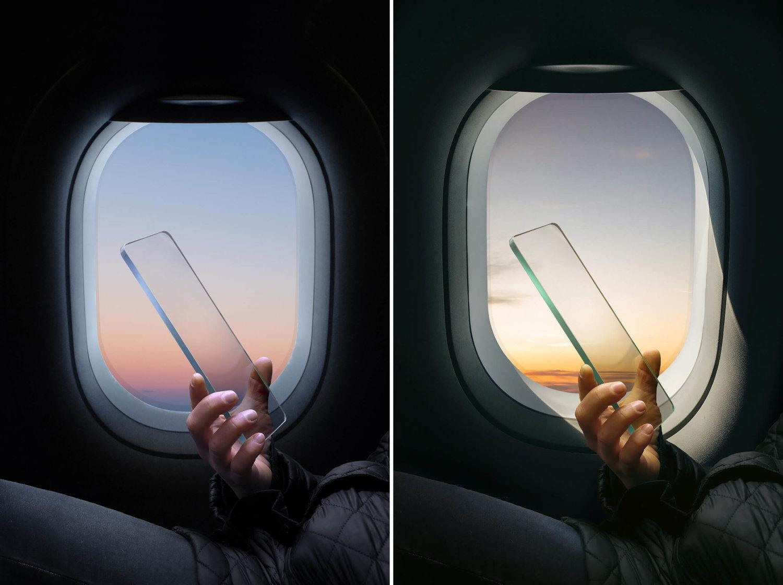 Links und rechts ein nahezu identisches Bild: Eine Hand hält eine Glasscheibe in Smartphone-Form vor einem Flugzeugfenster. Die Lichtverhältnisse sind unterschiedlich.