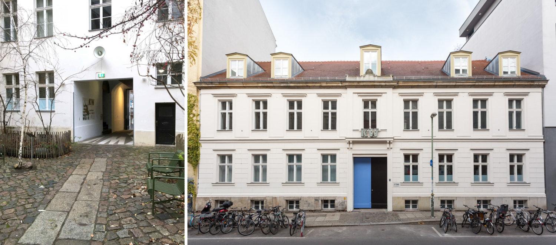 Links: Soundinstallation von Susan Philipsz im Hof der KW. Rechts: Außenansicht der KW.