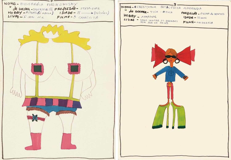 links: Filzstift-Zeichnung von Leonilson, zu sehen ist eine große, kräftige Frau ohne Gesicht mit blonden Haaren, großen Brüsten, kurzen Beinen und bunter, knapper Kleidung, die Brustwarzen sind gerade so bedeckt, rechts: Filzstift-Zeichnung von Leonilson, zu sehen ist eine kleine Frau mit sehr hohen grünen High Heels, roter Hose, blaues Shirt mit einem Peace-Zeichen drauf, sehr große rote Haarschleife, Sonnenbrille und große schwarze Kreolen