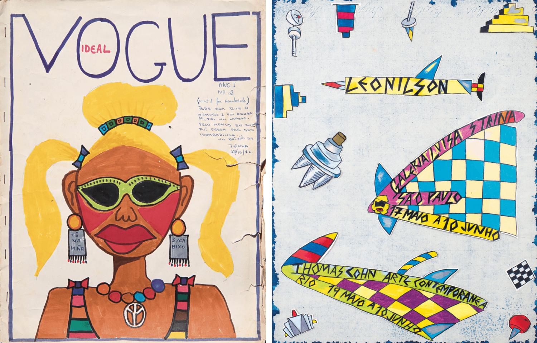 links: Ideal Vogue Magazin Cover von Leonilson, in Zine-Form, gezeichnet mit Filzstift, zu sehen ist eine bunt gekleidete Frau mit blonden Haaren und Zöpfen, grüner Sonnenbrille, Gesichtsbemalung, einer Peace-Kette um den Halt, Hautfarbe ist braun, rechts: Poster von Leonilson für die Galeria Luisa Strina and Thomas Cohn Arte Contemporanea