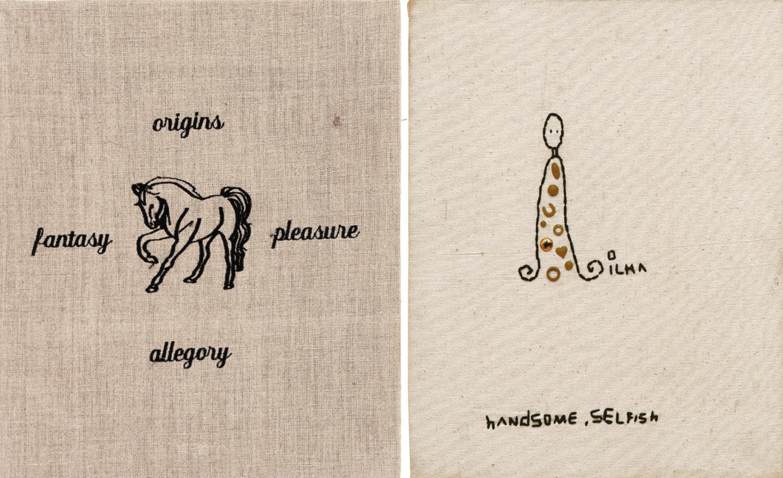 links: Stickerei auf Stoff von Leonilson, in der Mitte ist ein Pferd zu sehen, drum herum stehen die Worte origins, pleasure, allegory und fantasy, rechts: Stickerei auf Stoff von Leonilson, ein Wesen, das bestickt ist, rechts daneben steht ilma und unten stehen die Worte handsome und selfish