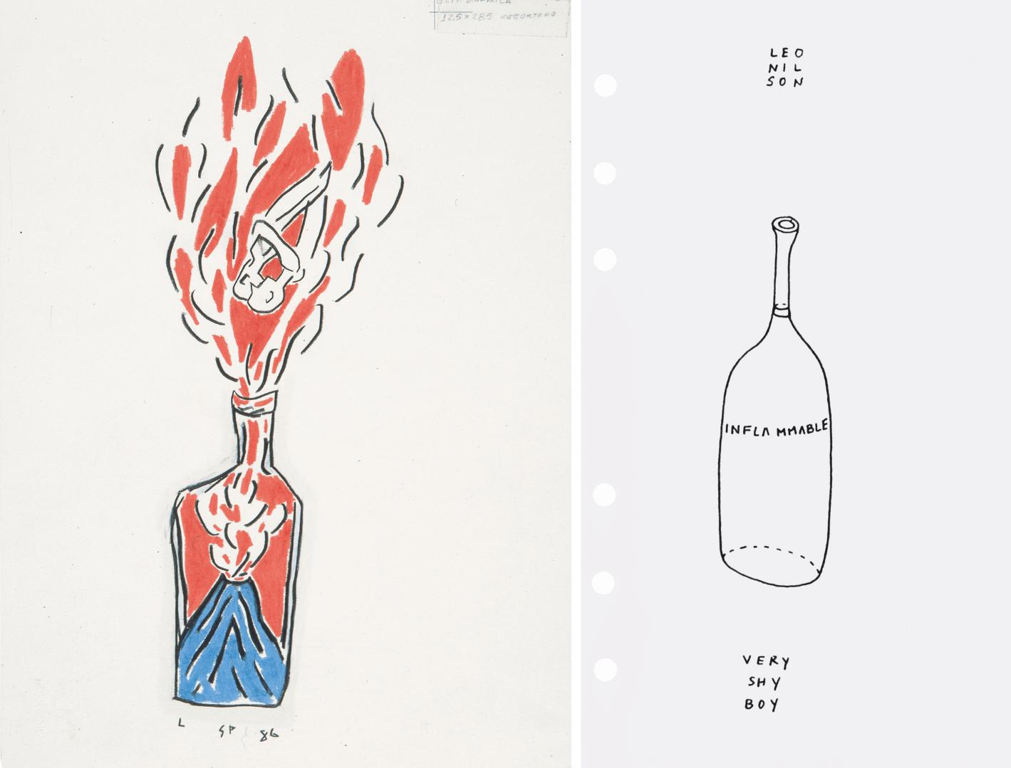 Links: Filzstift-Zeichnung von Leonilson, zu sehen ist eine Flasche, in der gerade ein Vulkan ausbricht, aus der Flasche tritt eine große Flamme heraus, in der Flamme sieht man ein eng umschlungenes Paar, die sich kopfüber in Richtung Flaschenhals bewegen, rechts: Filzstift-Zeichnung von Leonilson, zu sehen ist eine leere Flasche, aus der Inflammable steht, darüber steht Leonilson, darunter die Worte very shy boy