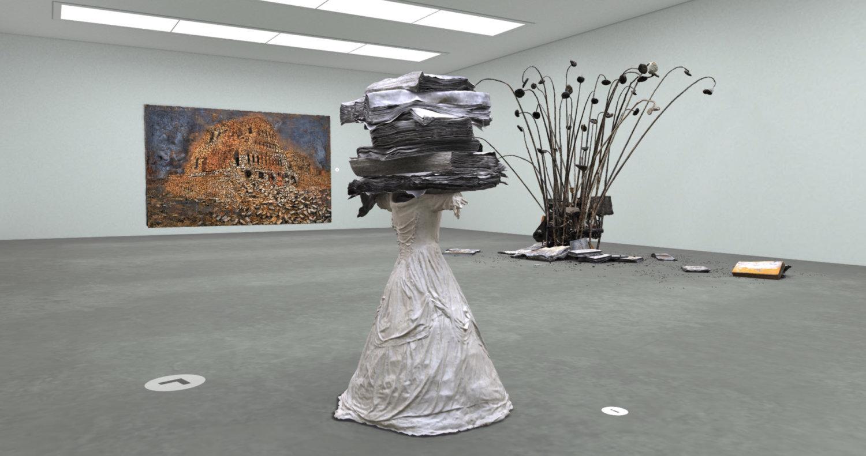 Virtuelle Ausstellungsansicht mit Arbeiten von Anselm Kiefer in der Digitalen Kunsthalle vom ZDF