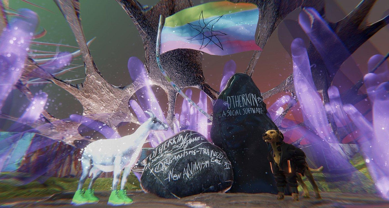 """Ein Screenshot der Arbeit """"Otherkin - A Social Software"""" von Omsk Social Club, Portals Cashmere Radio und Alexander Iezzi. Zu sehen sind zwei Steine und viele leuchtende Farben, am oberen Bildrand eine bunte Flagge mit einem Stern drauf, eine psychedelische Szenerie, rechts ist ein Steinbock mit grünen Sneakern an und links ein Hund, der eine Jacke trägt, drum herum leuchtet es in Lila"""
