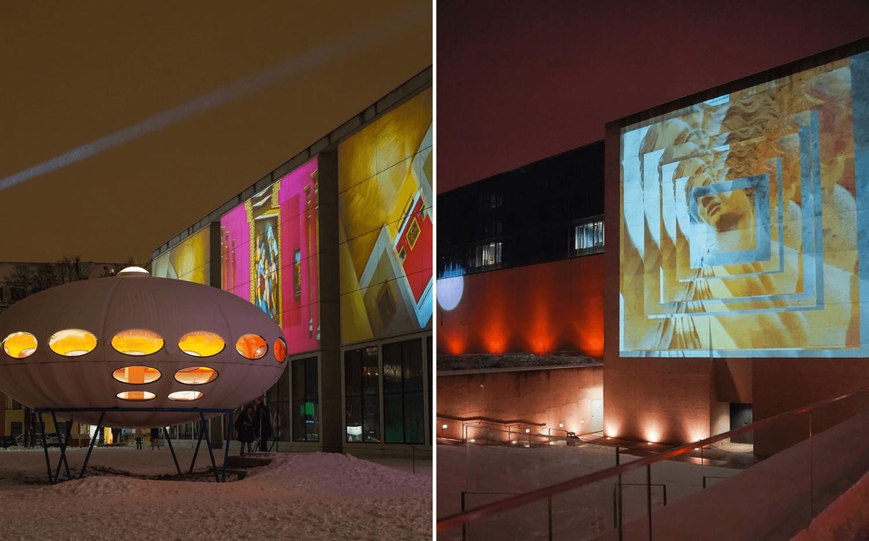 Lichtinstallationen von Betty Mü an der Pinakothek der Moderne sowie am Ägyptischen Museum.