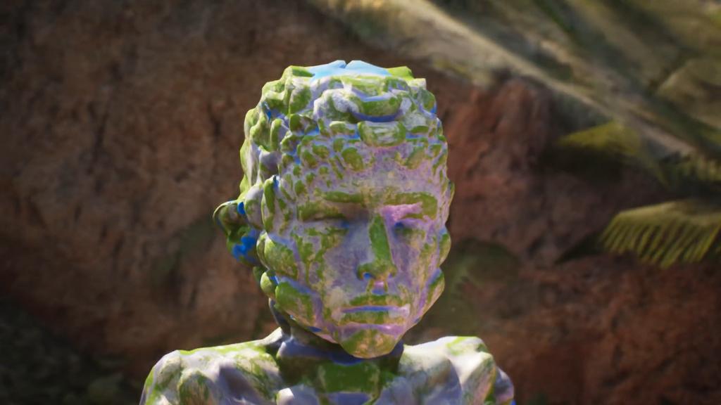 Man sieht ein digitales Gesicht, ein Still aus dem Video: Feel My Metaverse von  Keiken + George Jasper Stone.