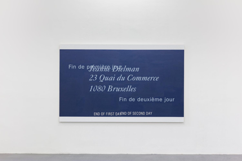 Leinwand von Lise Soskolne mit gemaltem Text aus Chantal Ackermanns Film Jeanne Dielman