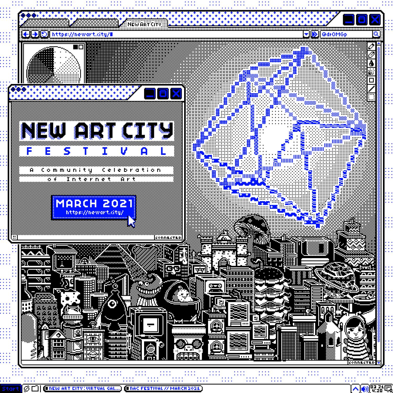 Flyer eines Festivals für digitale Kunst mit dem Namen New Art City, illustriert von dromgp