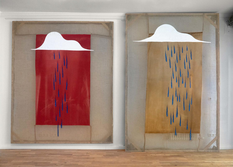 """Das Bild zeigt zwei Kunstwerke des Künstlers Jack Sommerville aus der Ausstellung """"Rain, that's all"""" in der Galerie Stallmann in Berlin."""