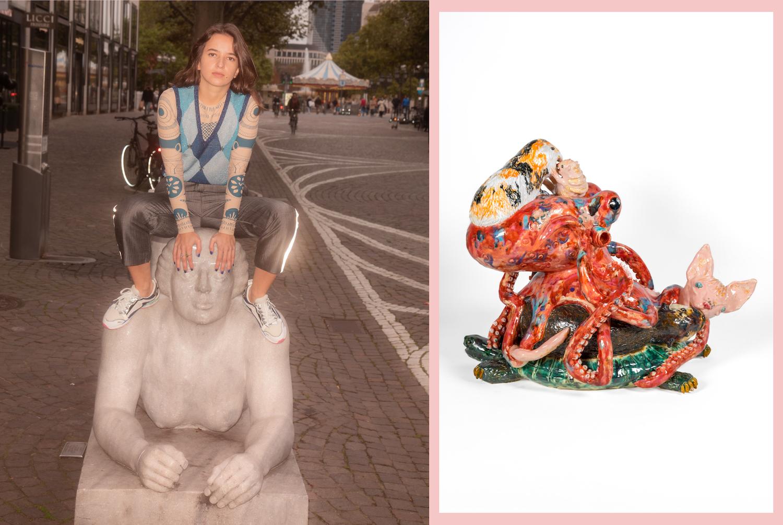 Links: Die Künstlerin Dominika Bednarsky sitzt auf dem Kopf einer Marmorskulptur in der Frankfurter Innenstadt. Rechts: Eine Keramikskulptur aus mehreren Tieren, unter anderem einem Oktopus und einem Mehrschweinchen.
