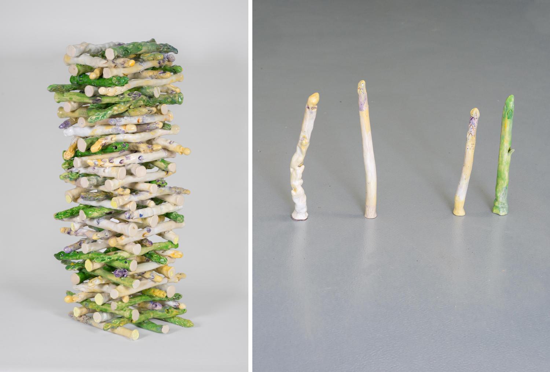 Links: Jenga-Turm aus gestapelten Spargel-Keramiken, rechts: vier einzelne Spargel-Keramiken.