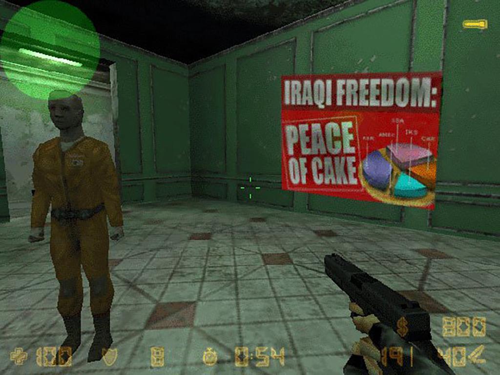 Man sieht einen Screenshot von Counter-Strike mit einem Eingriff von Velvet-Strike.