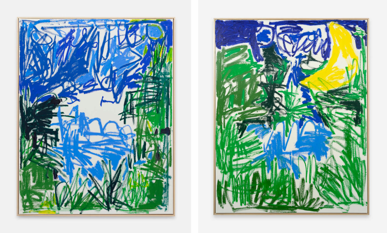 Das Bild zeigt zwei Kunstwerke des Künstlers Andi Fischer, welche jeweils expressive Landschaften und Wolken zeigen. Im rechten Bild ist ein Sichelnd zu sehen.