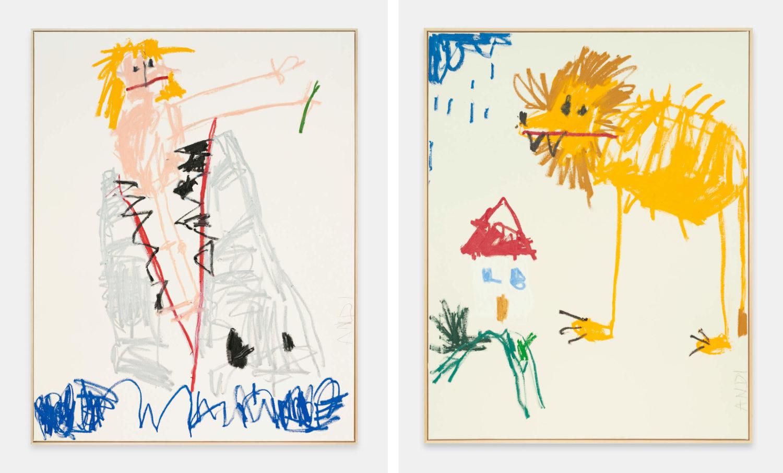 Das Bild zeigt zwei Kunstwerke des Künstlers Andi Fischer. Es Handel sich um zwei Leinwandbilder. Das linke Bild zeigt eine Figur, welche im Rachen eines großen Fisches zu stecken scheint. Das rechte Bild zeigt einen Löwen, der vor eine proportional sehr viel kleineren Haus steht.