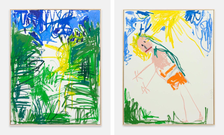 Das Bild zeigt zwei Kunstwerke des Künstlers Andi Fischer. Das linke Bild zeigt eine expressive Landschaft mit grüner Vegetation und Sonne. Das rechte Bild zeigt einen Menschen in einer abstrakten Landschaft mit einer Sonne am oberen Bildrand.
