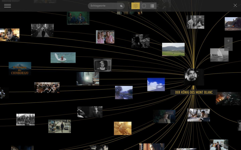 Das Bild zeigt einen Screenshot der Onlinedatenbank RHIZOM FILMGESCHICHTE.