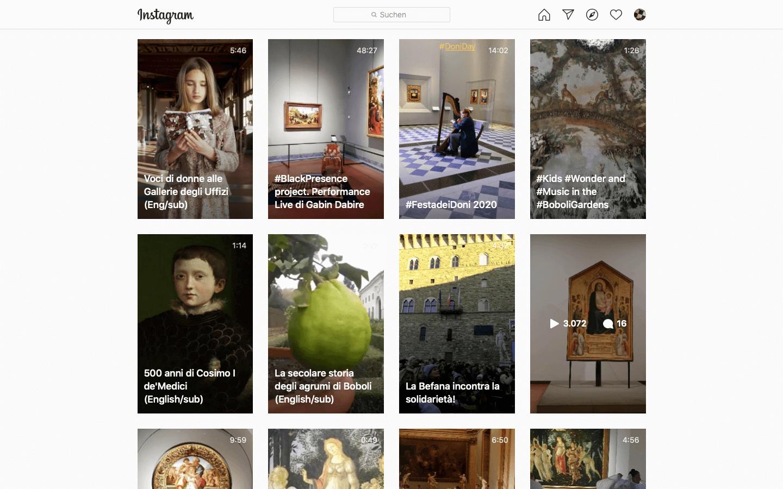 Das Bild zeigt einen Screenshot des Instagram-Accounts der Uffizien Galerien in Florenz.
