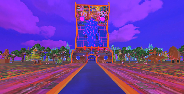 Zu sehen ist das Werk wwwunderkammer von Carla Gannis, die Teil einer virtuellen Ausstellung ist, man sieht eine Landschaft in kräftigen, unrealistischen Farben mit Bäumen und Tieren und eine Straße