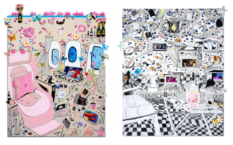 Zwei Vision Boards der Künstlerin Gretchen Andrew. Links ein Flugzeug-Setting, rechts ein Esszimmer.