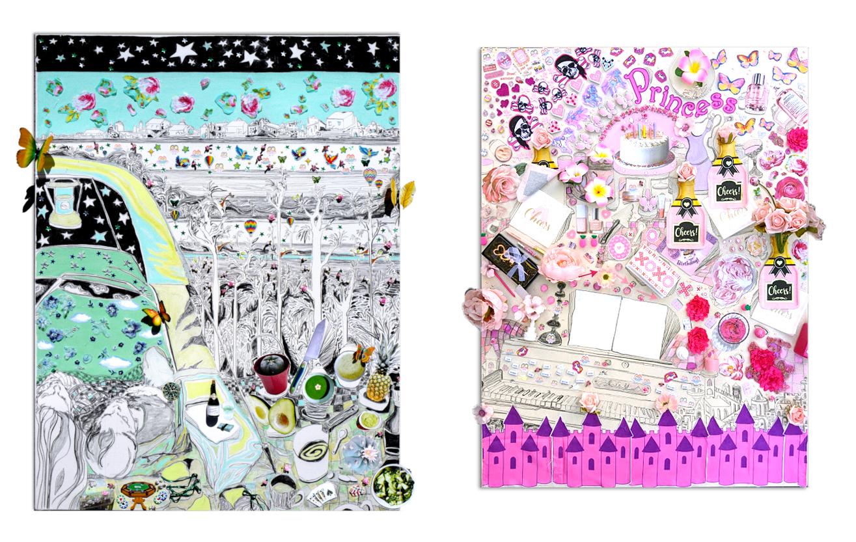 Zwei Arbeiten von Gretchen Andrew. Links ein Auto-Picknick, rechts viel Champagner und ein Flügel.