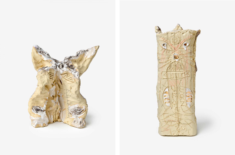 Das Bild zeigt zwei Keramiken des Künstlers Jonathan Meeses.