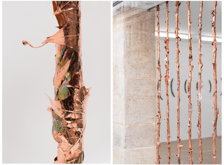 Links ein Bild eines Kupferstabes aus Blättern, rechst ein Blick in ein Fenster in dem ein Gitter aus Kupferstäben installiert ist.