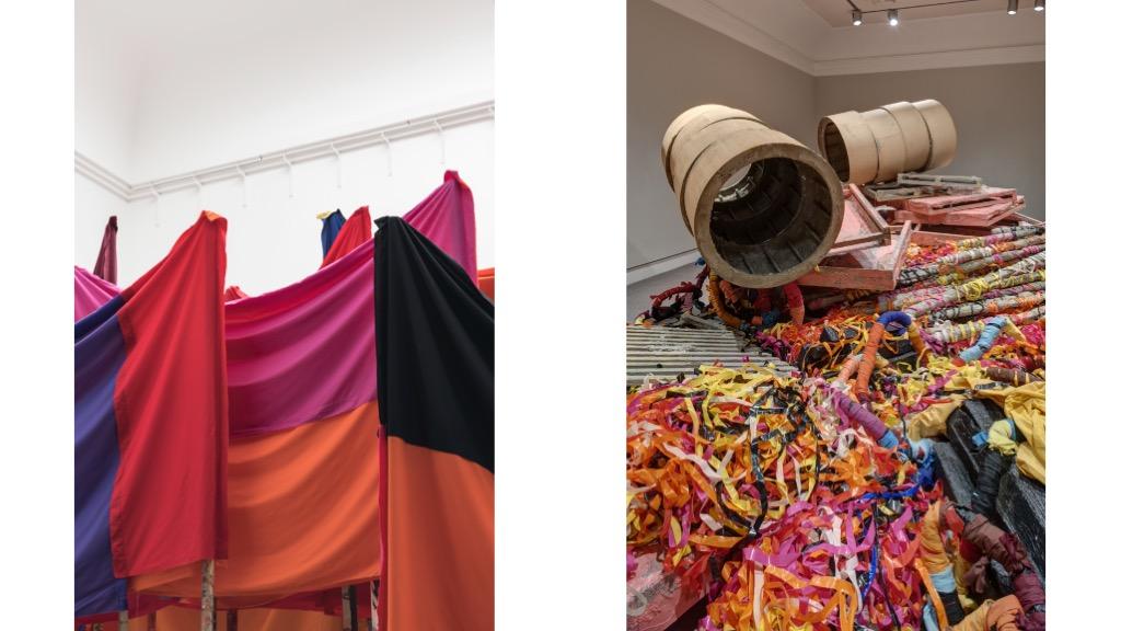Man sieht zwei Arbeiten von Phyllida Barlow im Haus der Kunst in München.