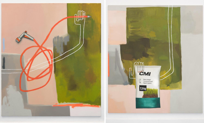 Zwei Bilder mir grünen und rosa-farbenen Elemente.